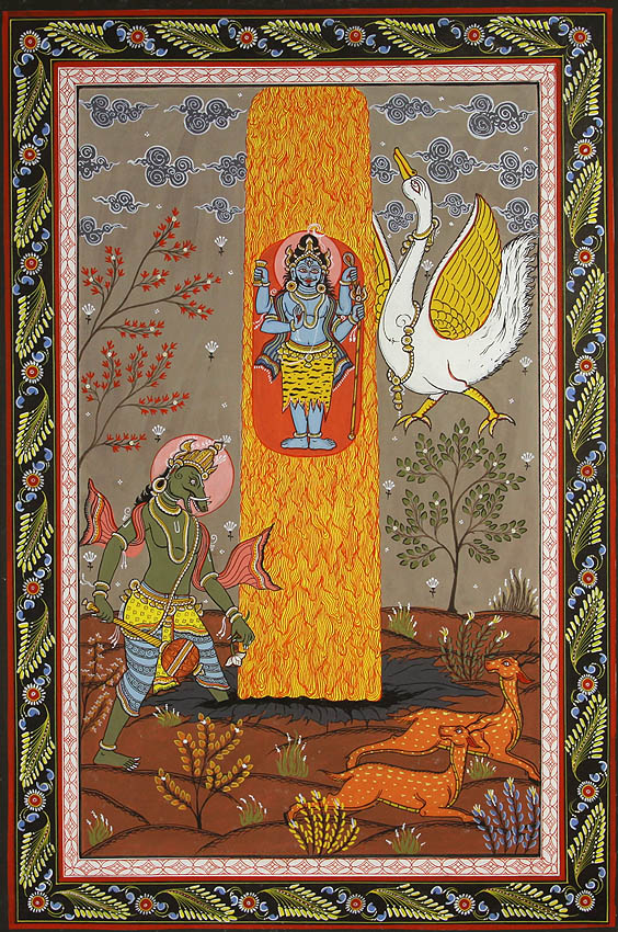 Shiva The Supreme Lord With Brahma As A Swan And Lord Vishnu An Episode From The Shiva Purana