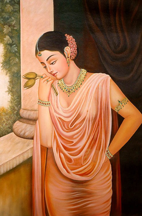 Lonely Lady On Terrace Virahini Nayika With Two Lotus