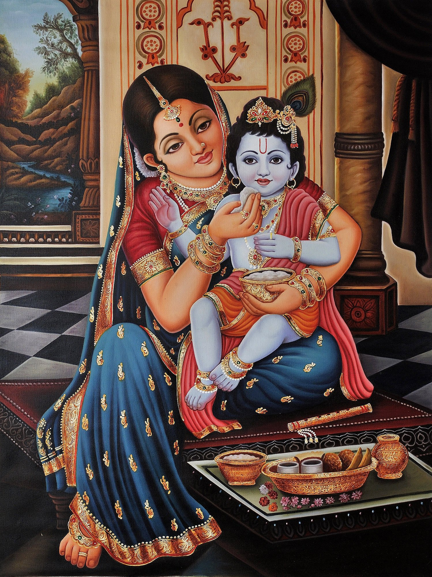 Mother Yashoda Feeding Baby Krishna (Framed)