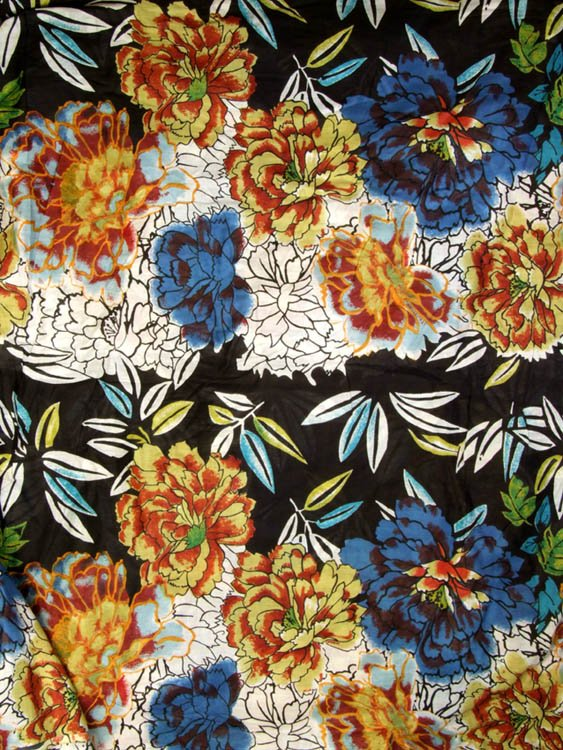 Black Floral-Printed Fabric