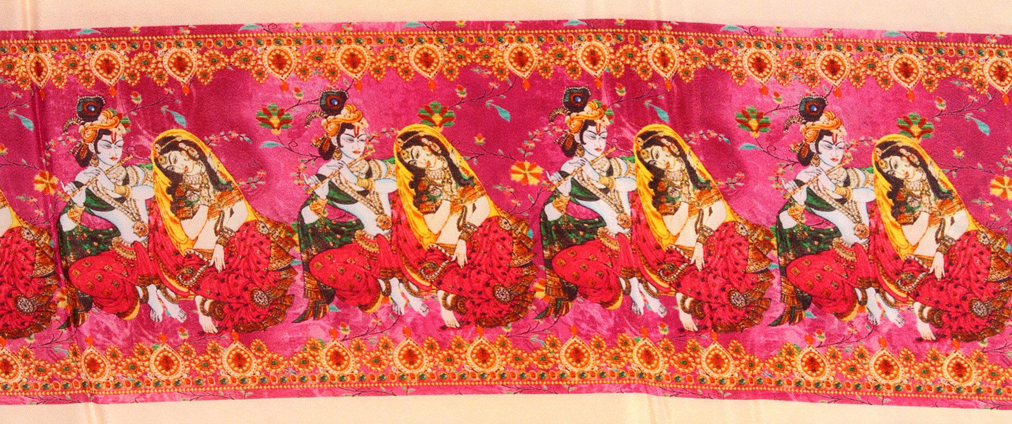 Fabric Border With Digital Printed Radha Krishna