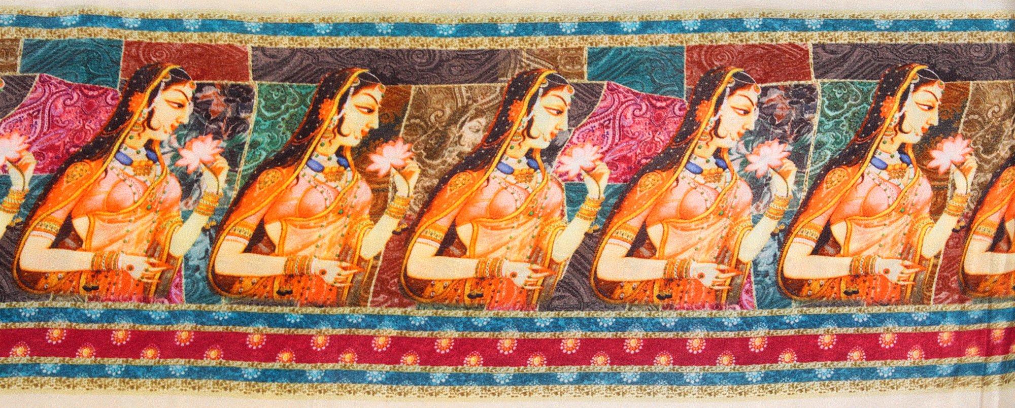 Lady With Flower Digital Printed Fabric Border