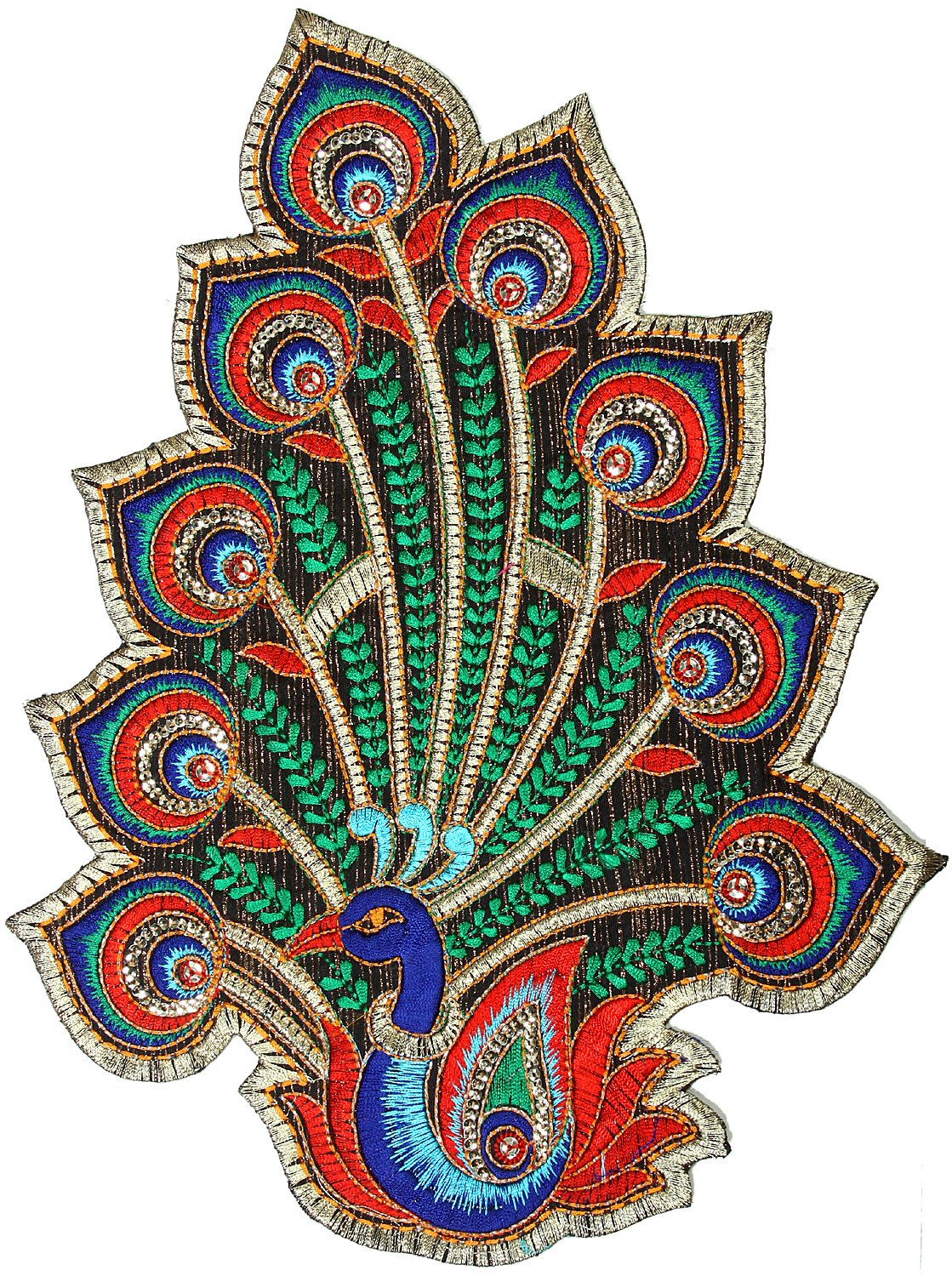 Multi color embroidered peacock patch with sequins
