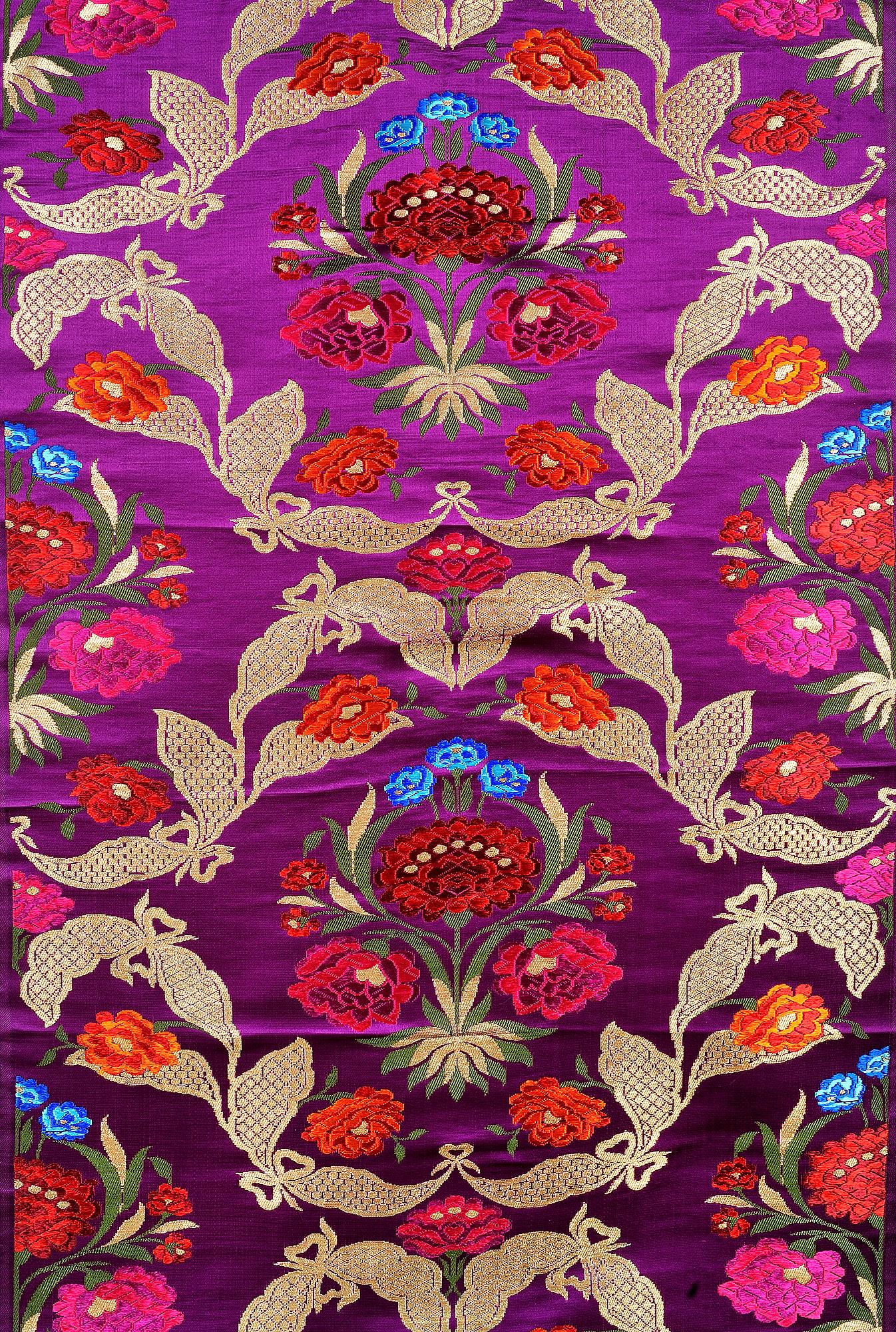 Indian fabric Wedding Dress fabric Purple Brocade Fabric by the Yard Banaras Fabric Banarasi Brocade Fabric for Lengha