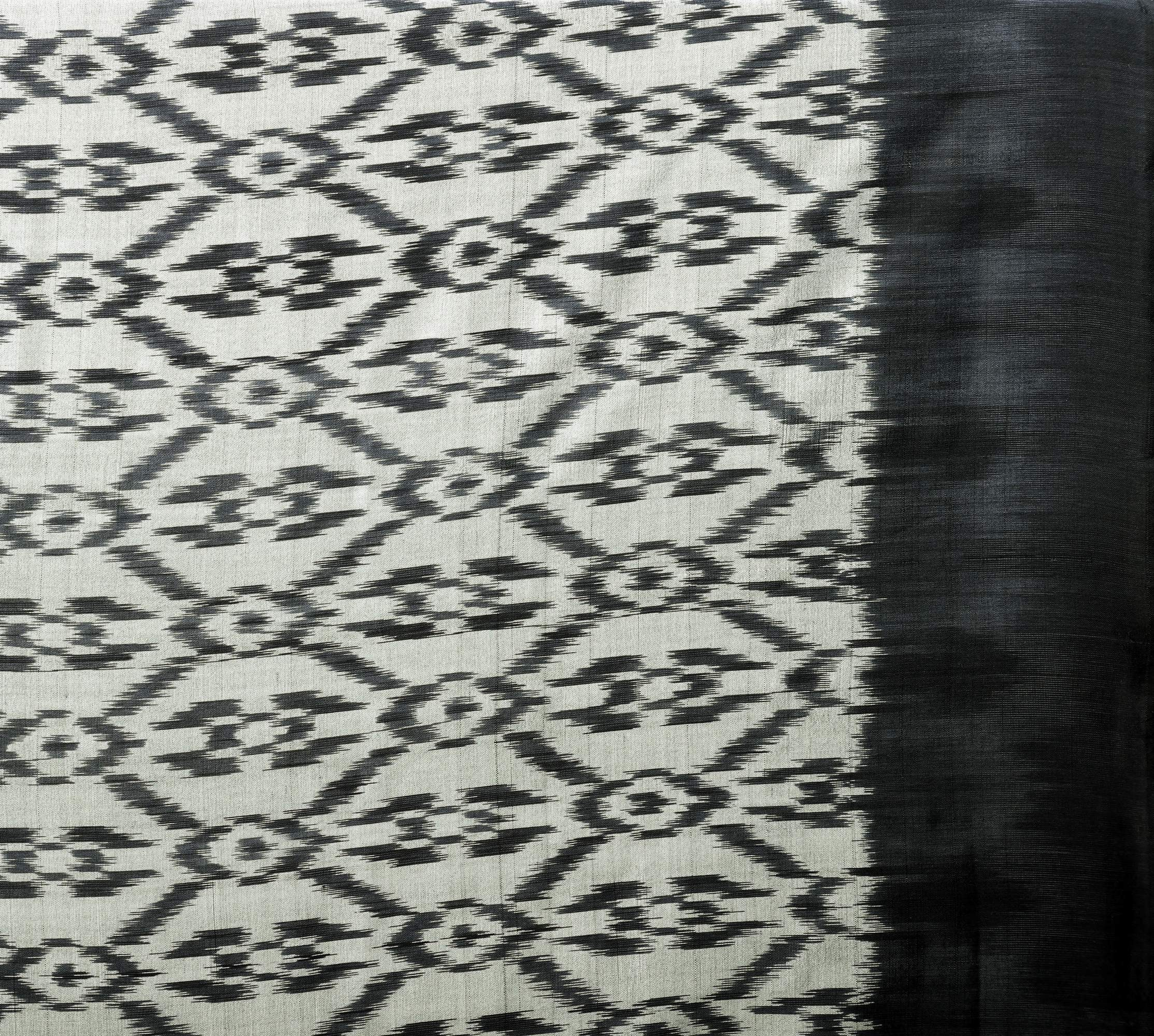 Gray And Black Handloom Fabric From Pochampally With Ikat