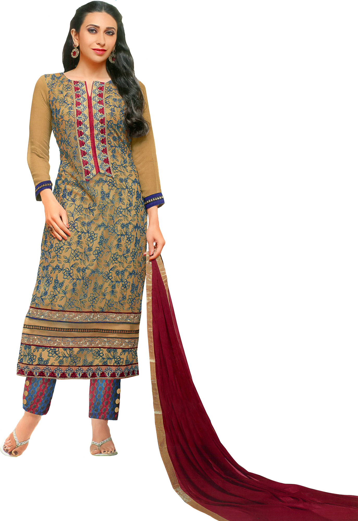 Beige and maroon parallel salwar suit with ari embroidery
