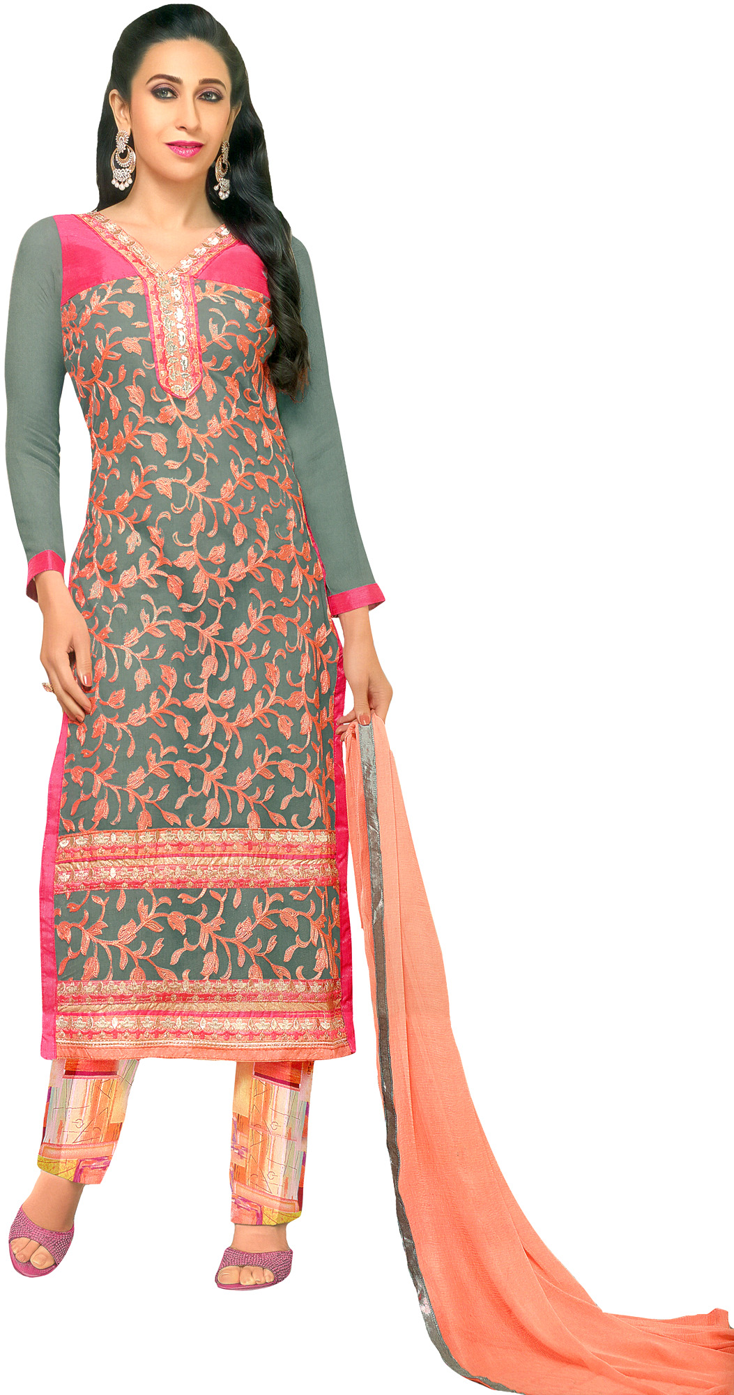 Gray and pink parallel salwar suit with ari embroidery