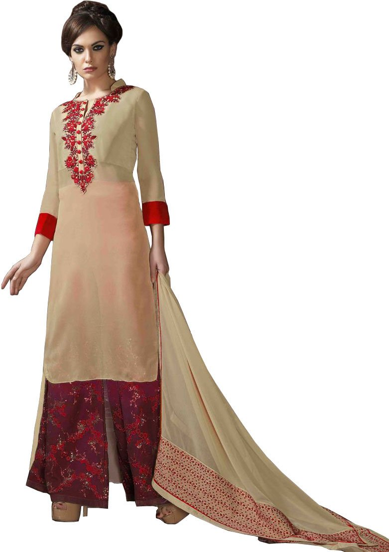 Beige and red designer long palazzo salwar suit with