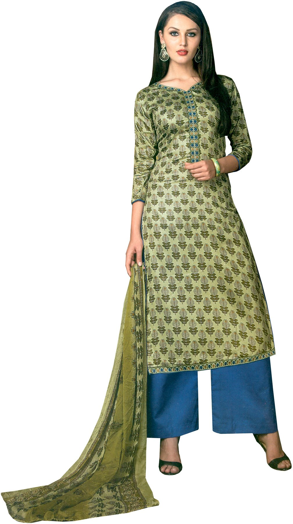 Green and blue printed palazzo salwar suit with