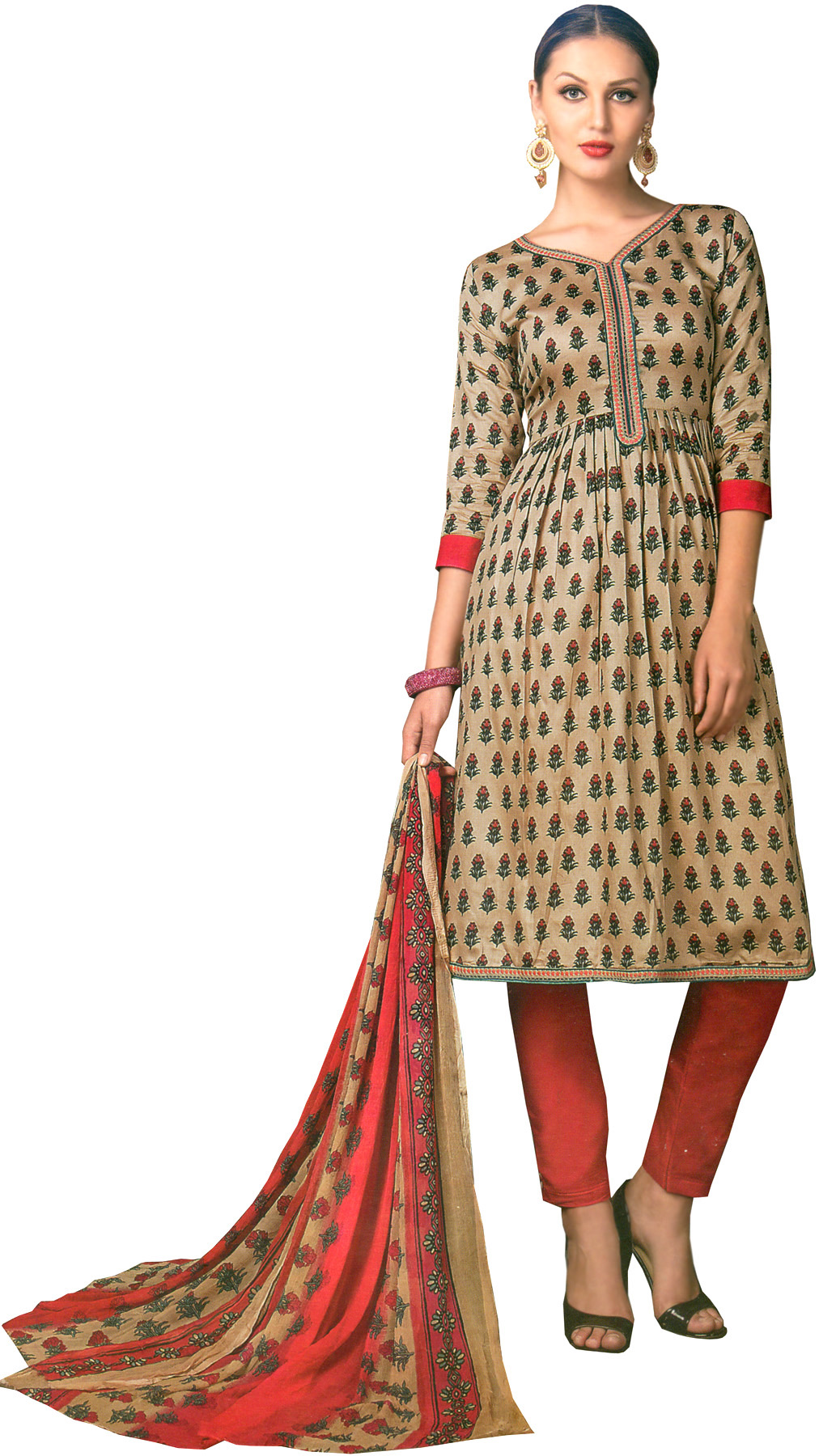 Shifting sand and pink parallel salwar kameez suit with