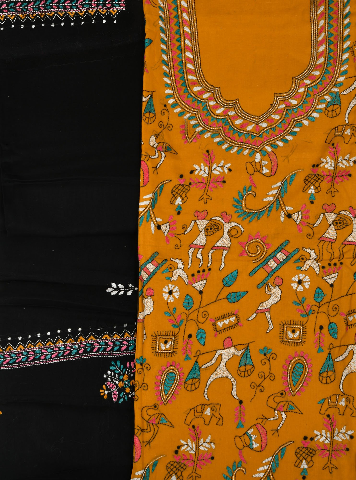 Nugget and black salwar kameez fabric from kolkata with