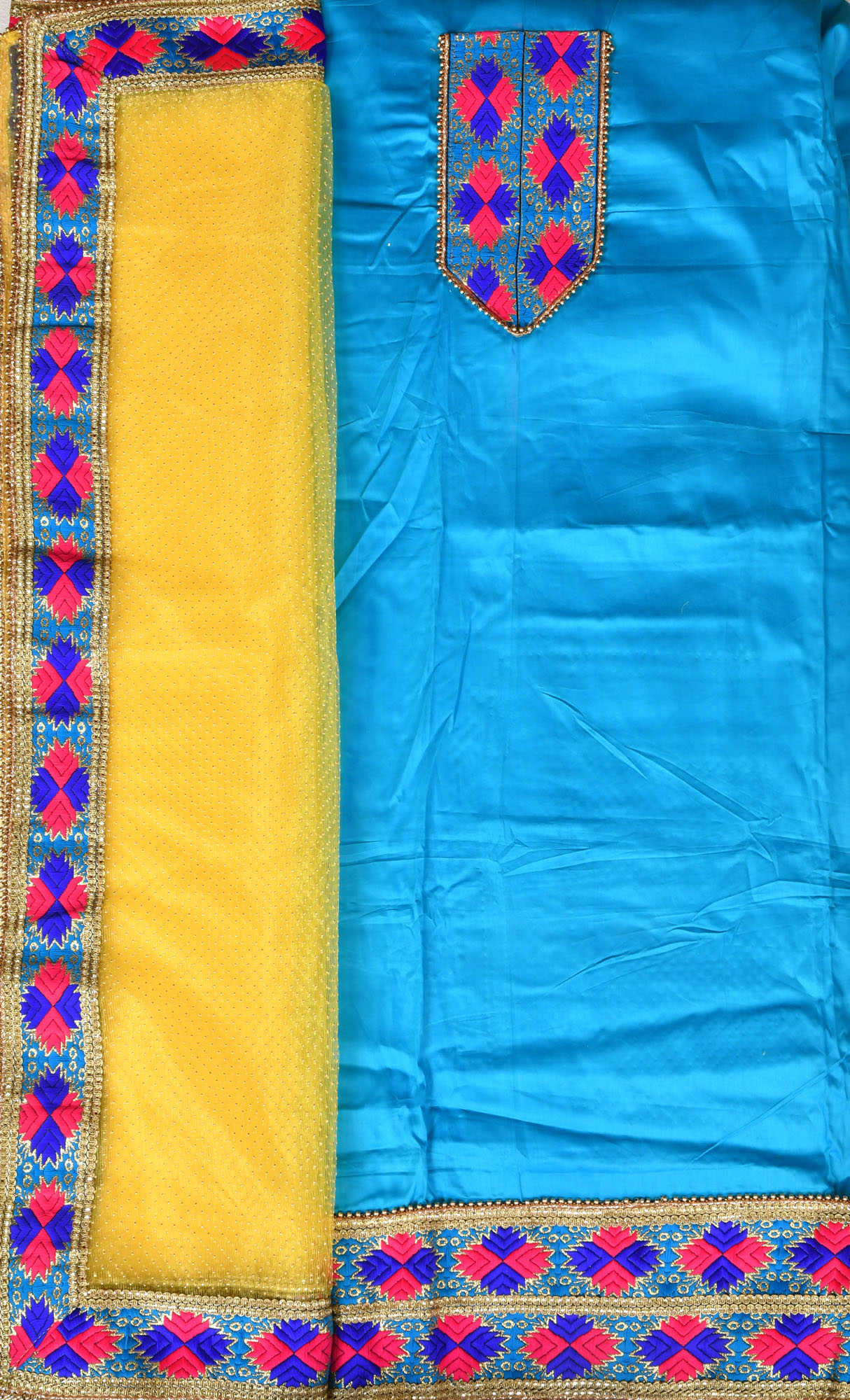 c43c5c4a85 Cyan-Blue and Yellow Phulkari Salwar Kameez Fabric from Punjab with  Embroidered Patches and Net Dupatta