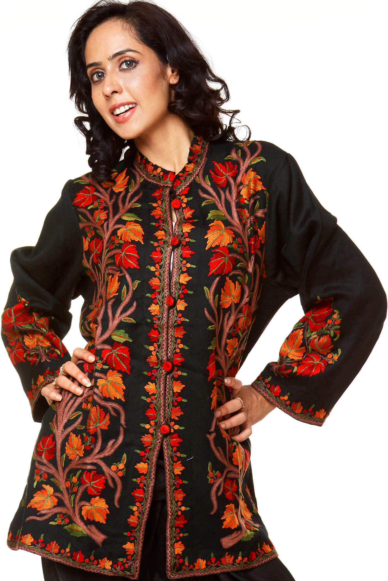 Black kashmiri jacket with hand embroidered tree of life