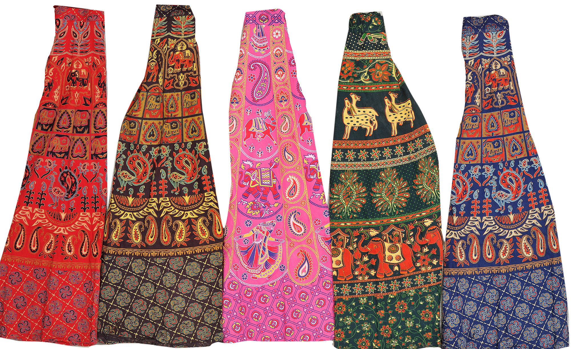 Lot Of Five Wrap Around Long Printed Skirts From Pilkhuwa