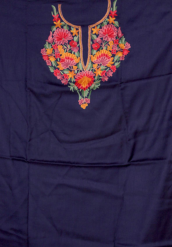 Navy Blue Two Piece Suit From Kashmir With Floral Ari Embroidery By Hand