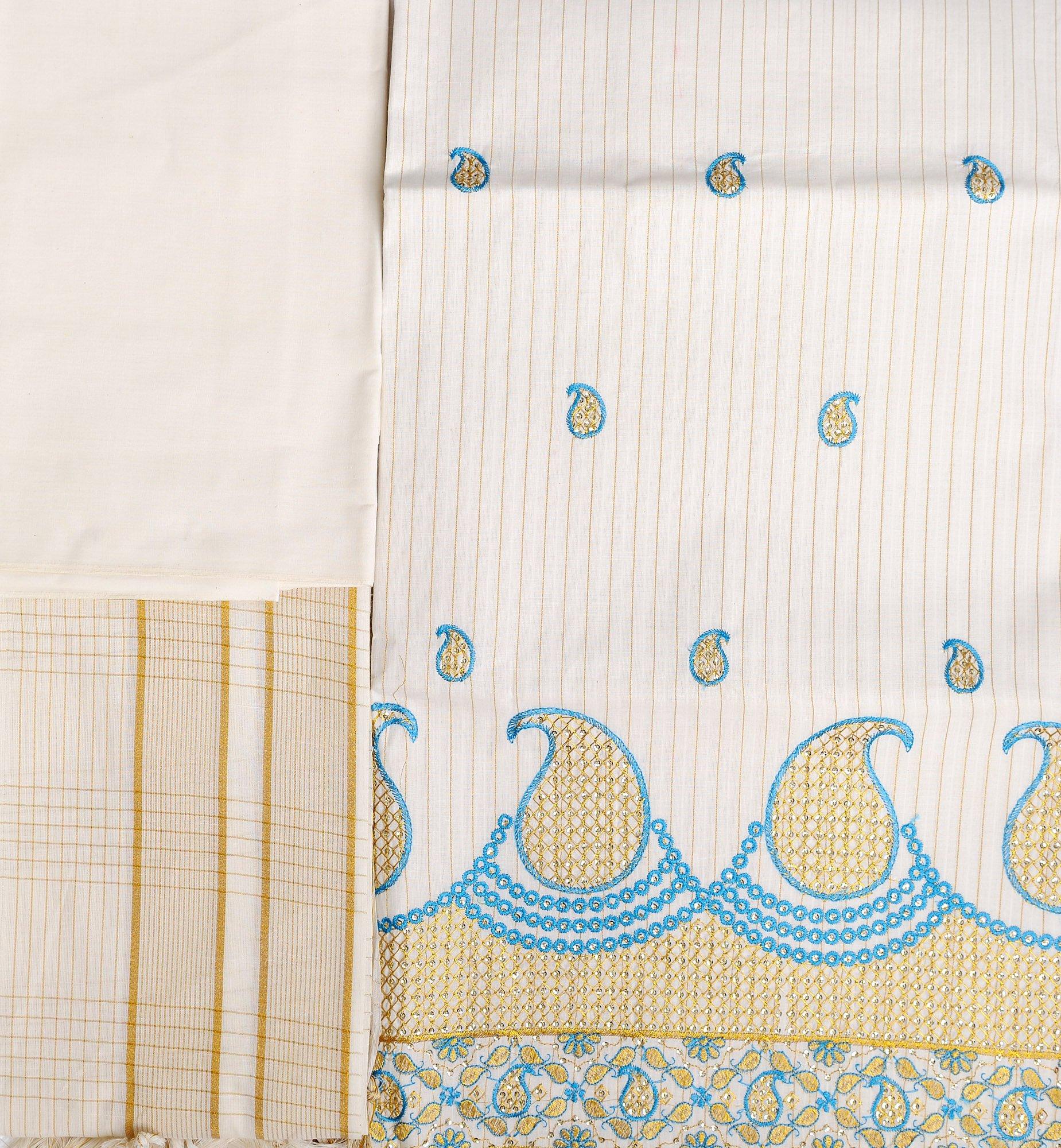 Kasavu Salwar Kameez Fabric From Kerala With Embroidered Paisleys