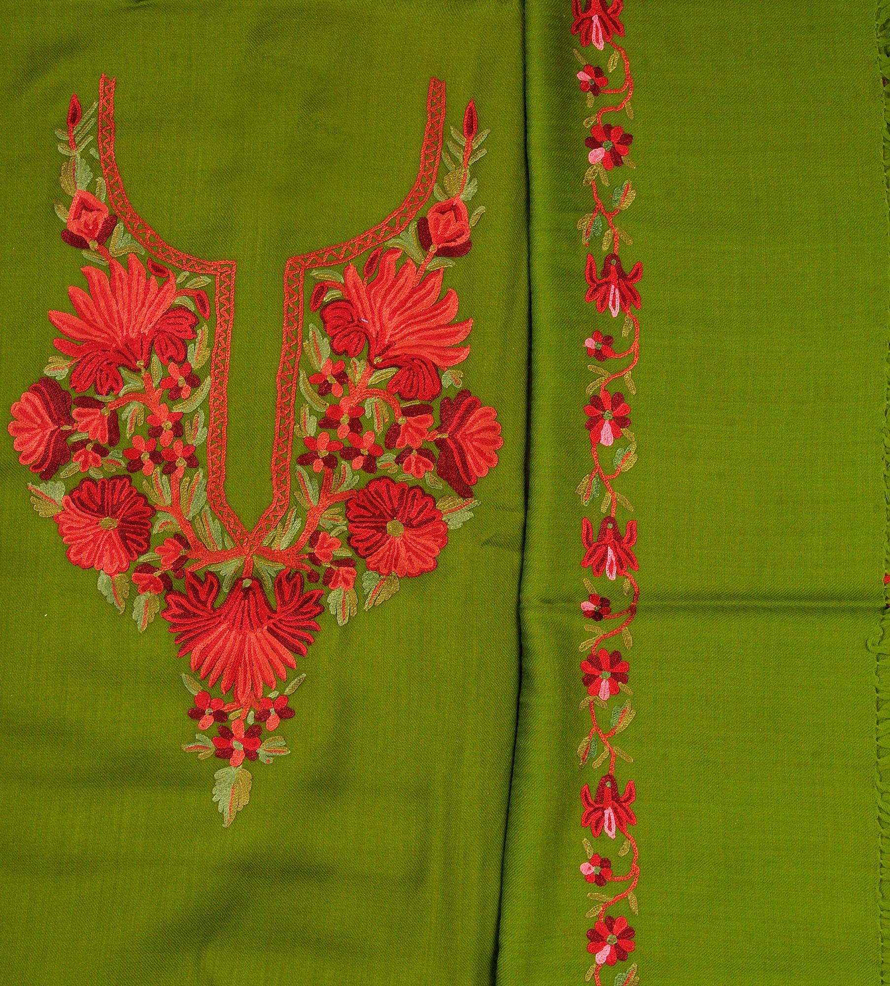 FluoriteGreen Salwar Kameez Fabric From Kashmir With Hand
