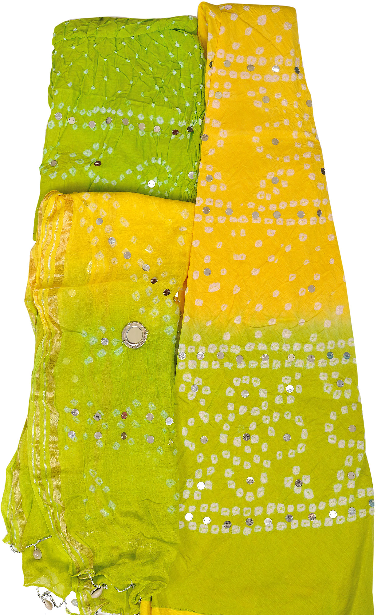 adbafbdc3 Bandhani Tie-Dye Lehenga Choli Fabric from Jaipur with Large Sequins and  Hanging Shells on Dupatta