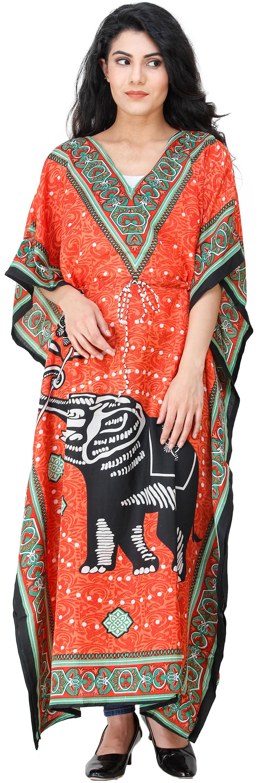 Exotic India Kaftan with Printed Elephant and Dori at Waist