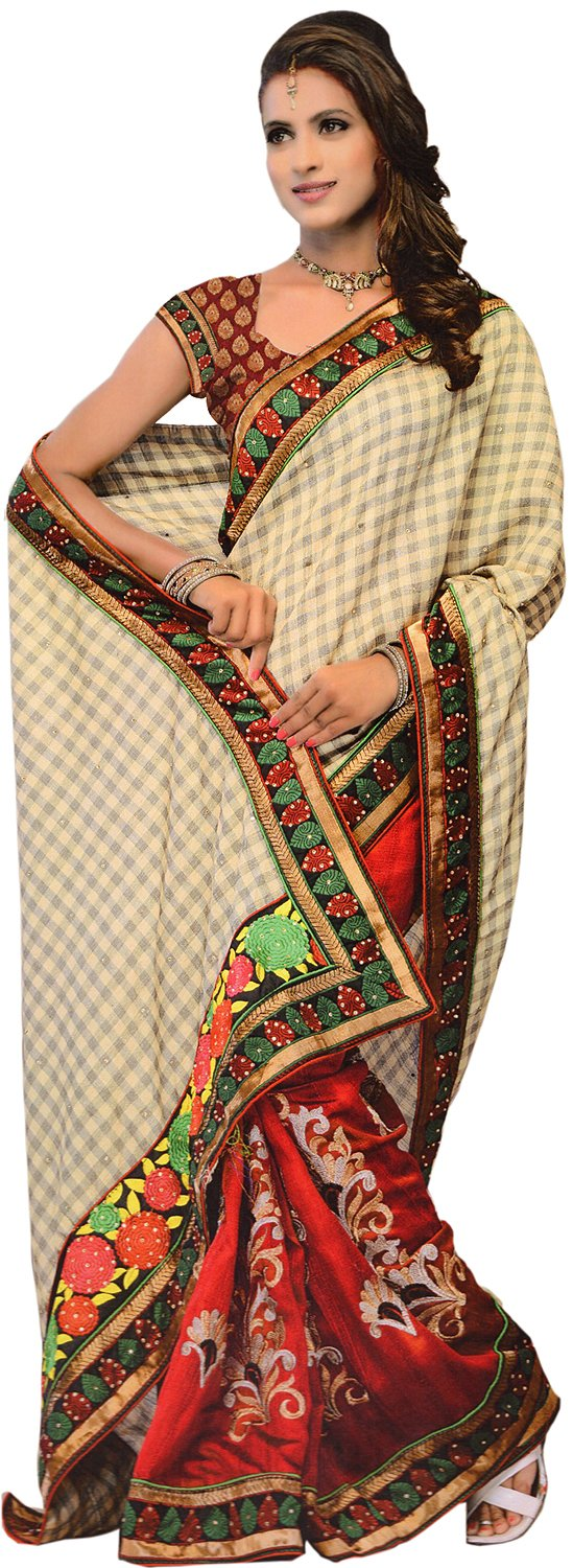Beige And Burgundy Fusion Sari With Floral Anchal And