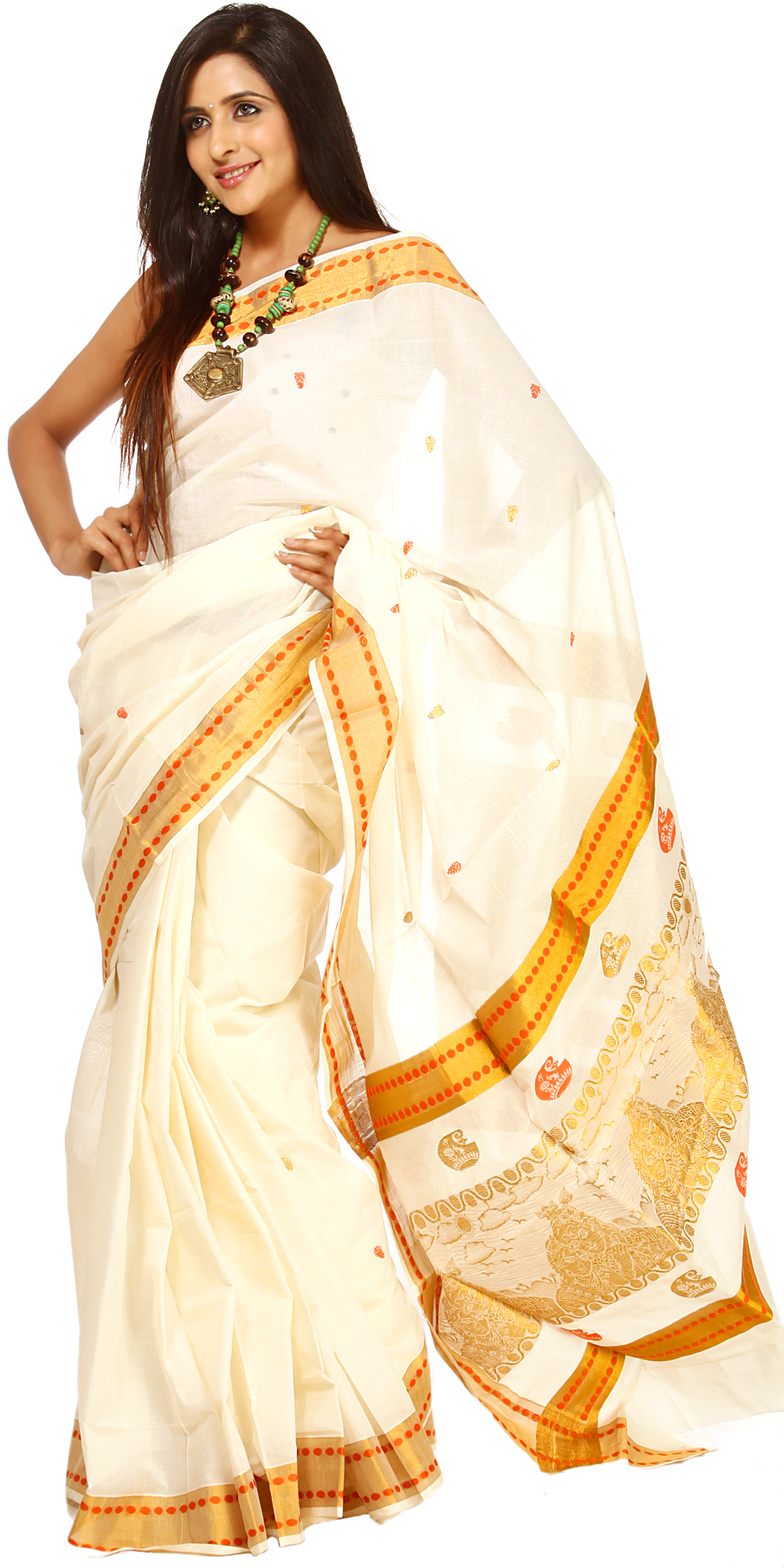 Ivory Kasavu Cotton Sari From Kerala With Woven Radha And Krishna