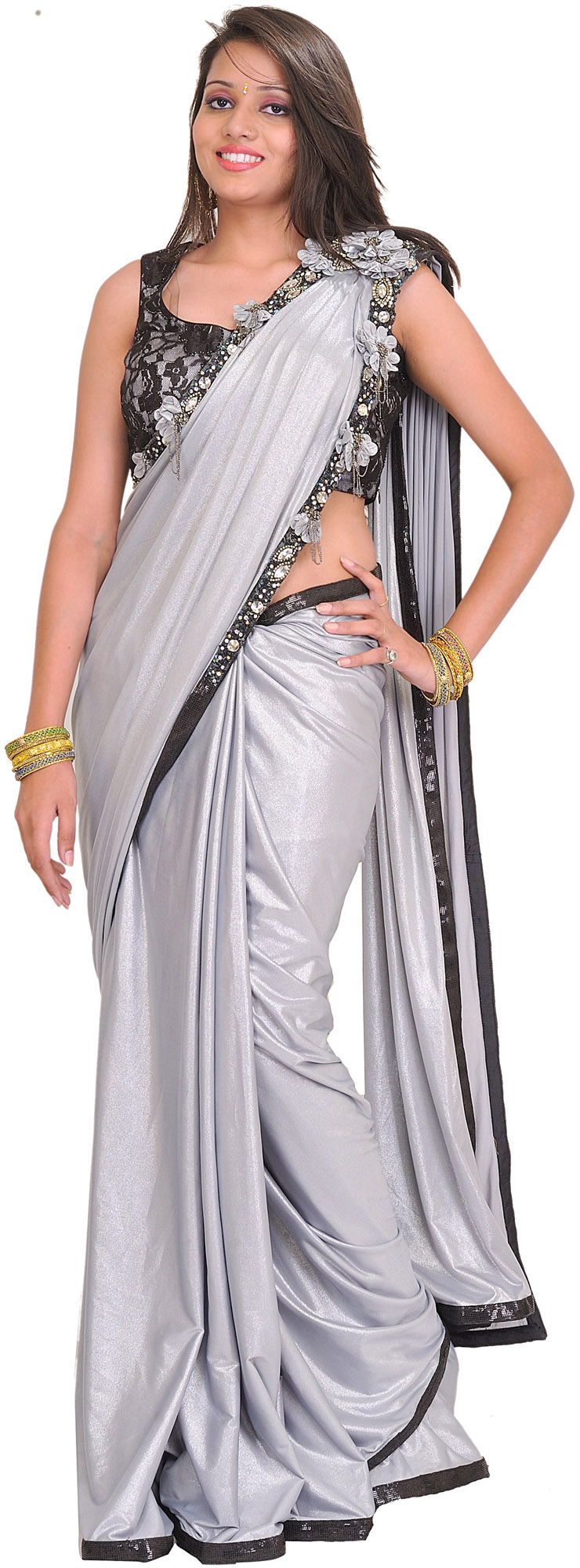 Silver and Black Wedding Sari with Sequined Patch Border ...