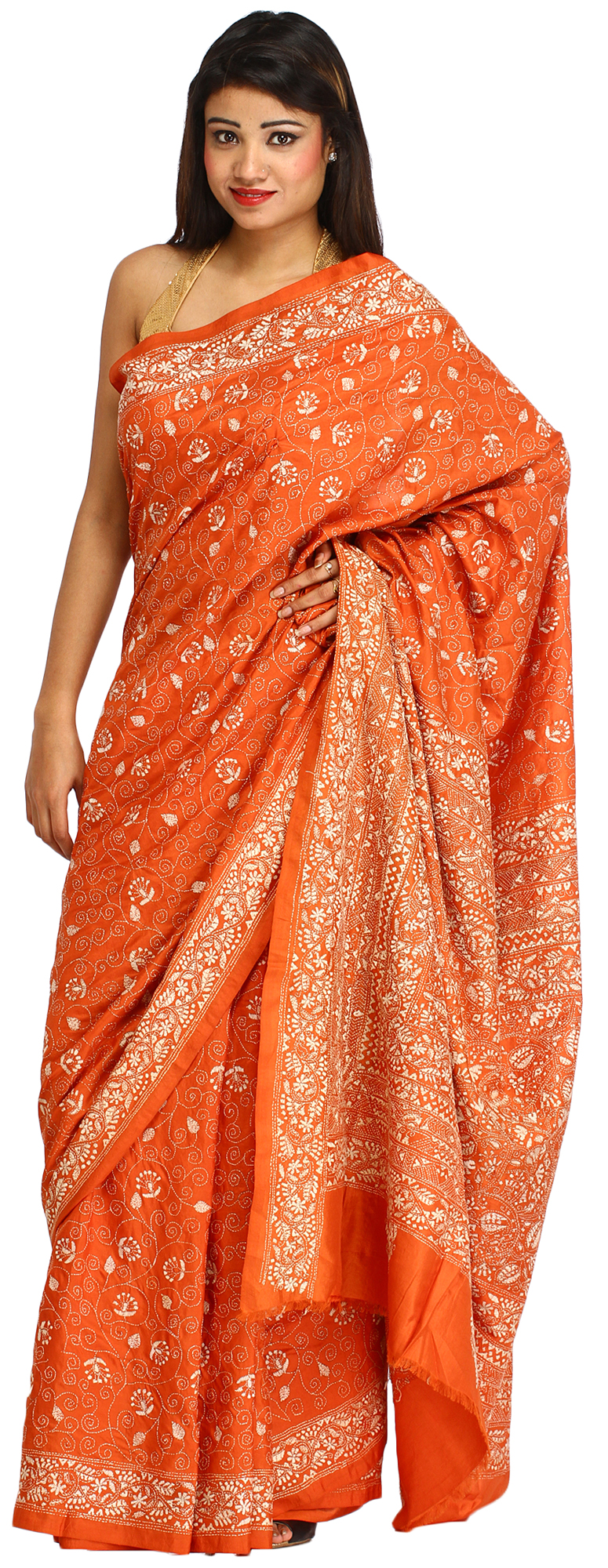 Rust orange sari from kolkata with kantha hand embroidery
