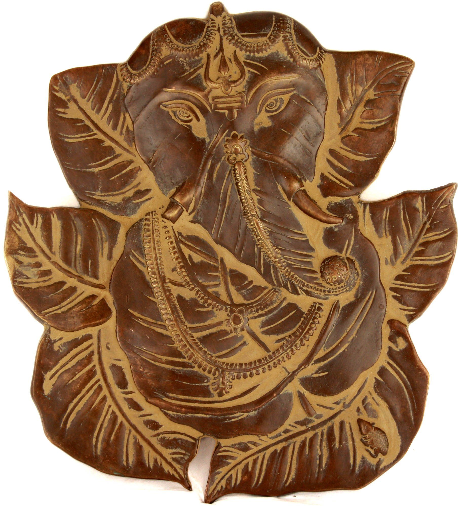 Pipal Leaf Ganesha With Trishul On Forehead Wall Hanging