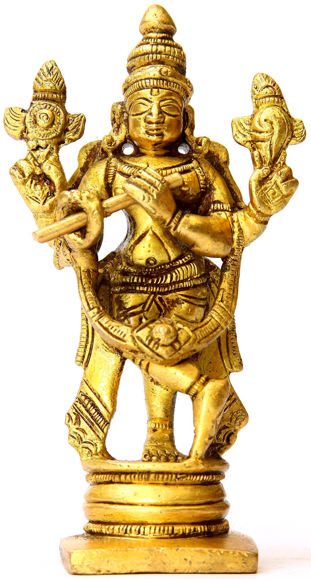 Fluting Krishna Small Sculpture