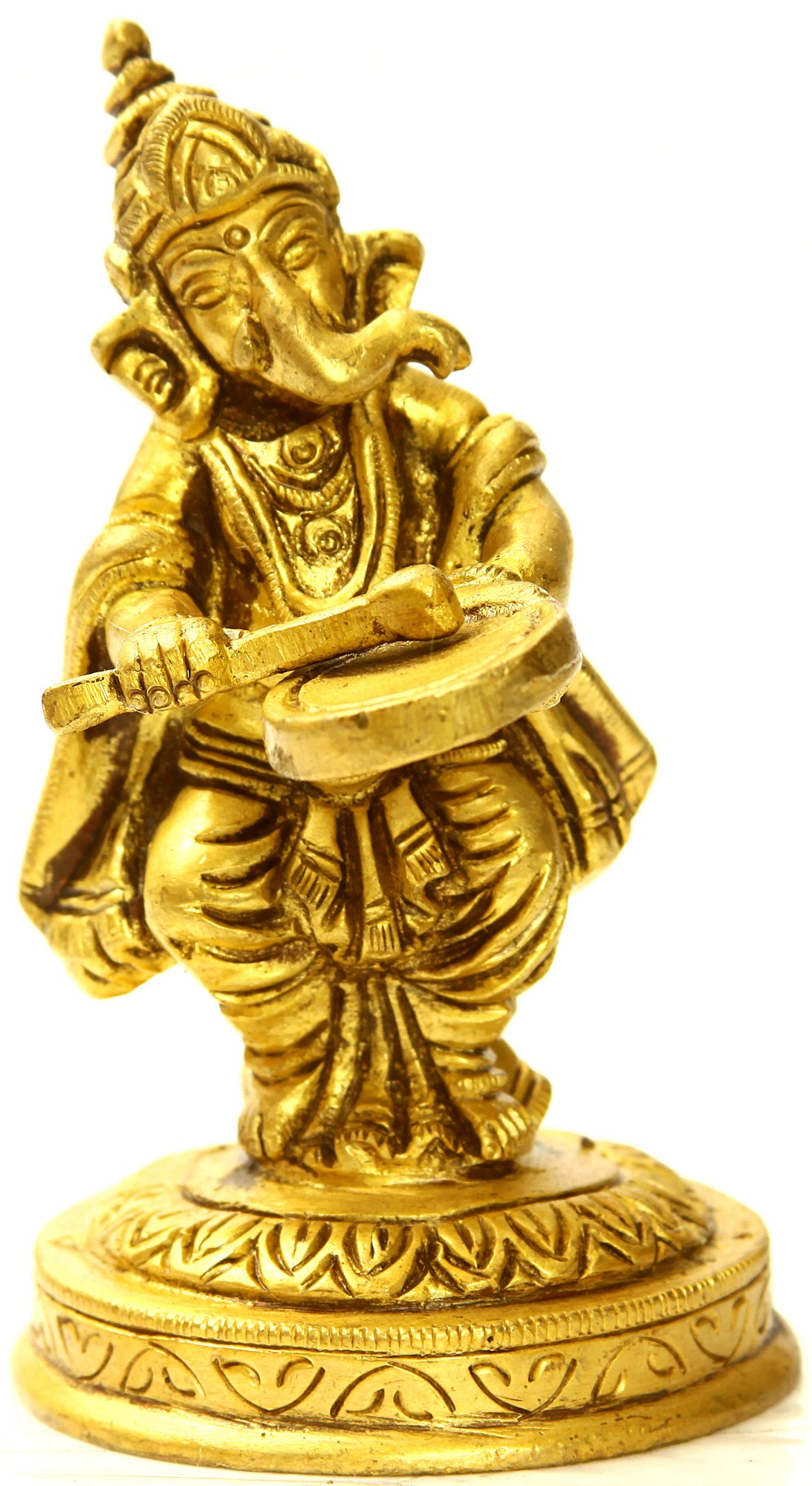 Lord Ganesha Playing a Musical Instrument (Small Sculpture)