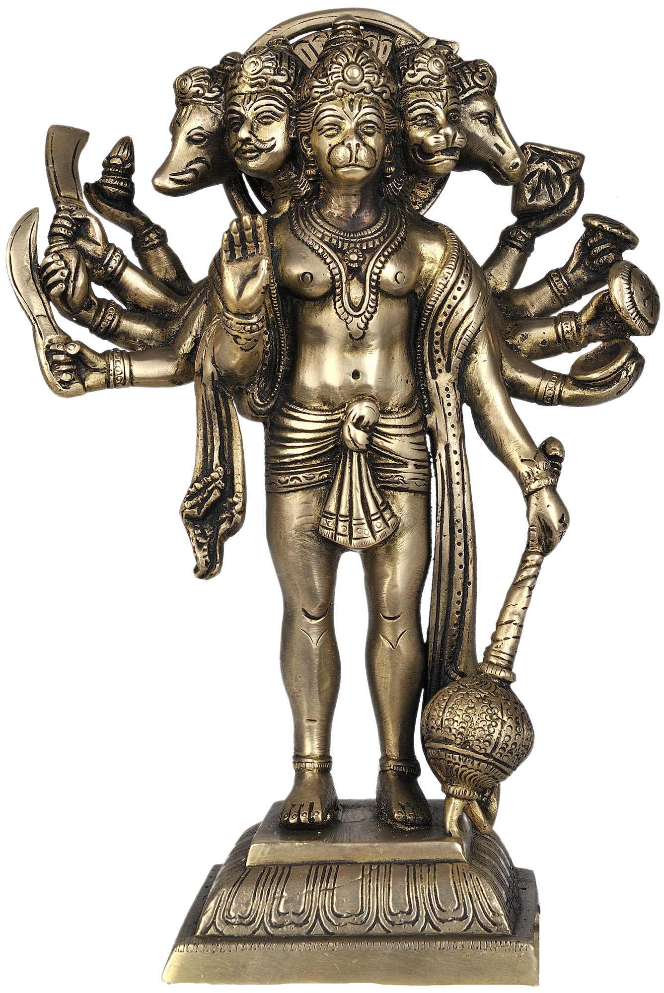 Five Headed Hanuman as Eleventh Rudra Standing on Lotus ... - photo#16