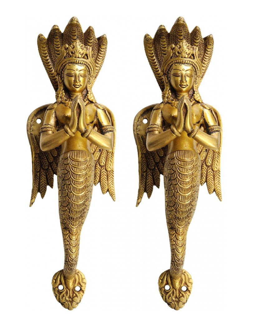 A Pair Of Naga Kanya Door Handles An Auspicious And