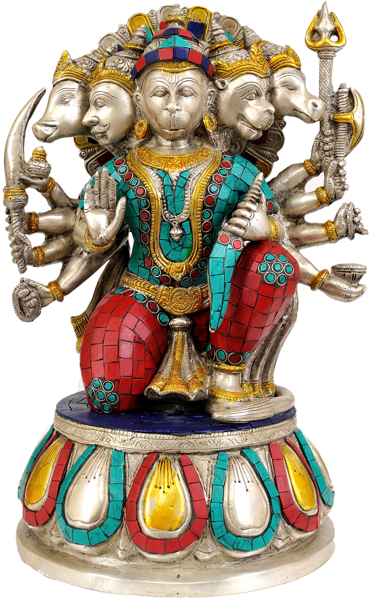 Five Headed Hanuman as Eleventh Rudra (Inlay Statue) - photo#15