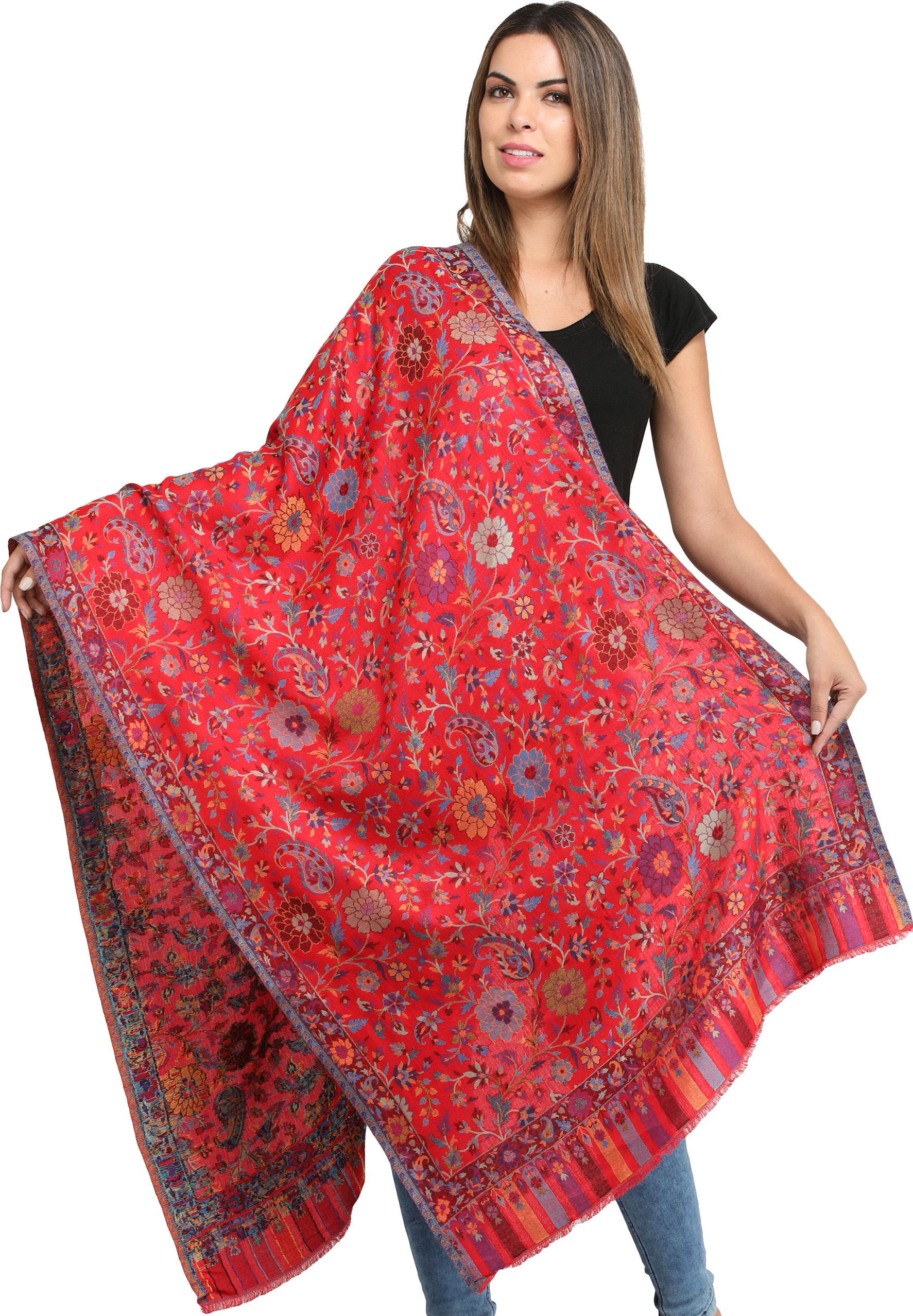 Exotic India Kani Shawl with Woven Chinar Leaves in Multi-Colored Thread