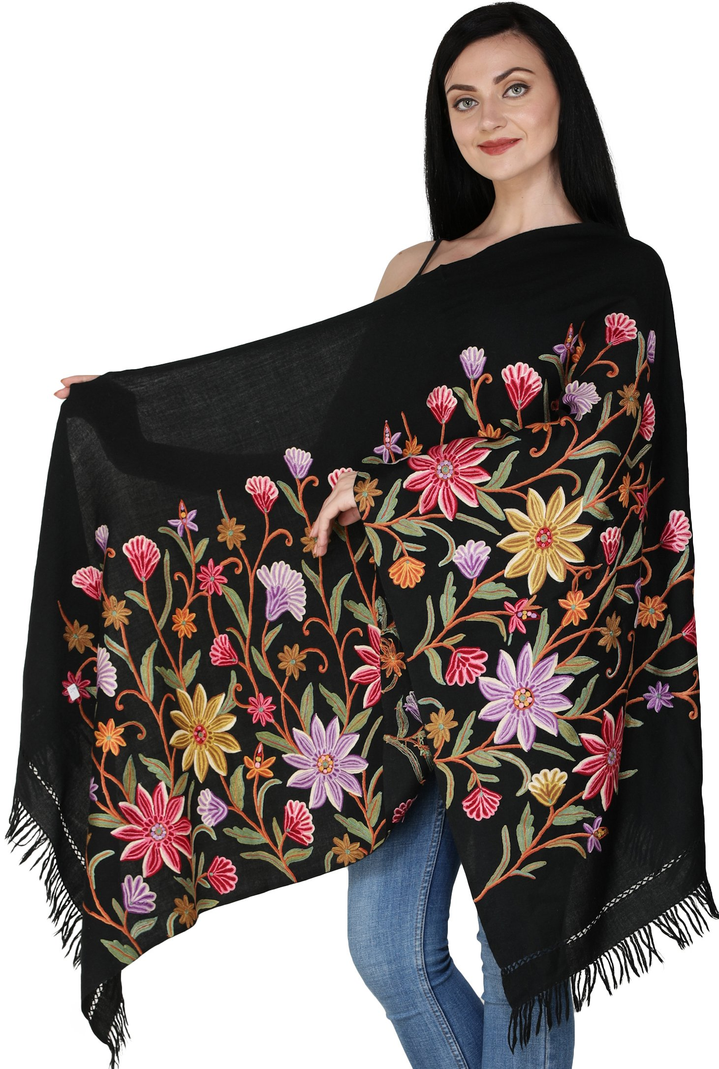 14214b8baf Caviar-Black Kashmiri Stole with Ari Hand-Embroidered Flowers in ...
