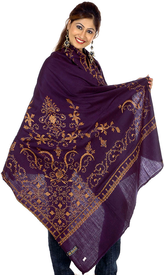 Midnight blue kashmiri shawl with needle stitch embroidery