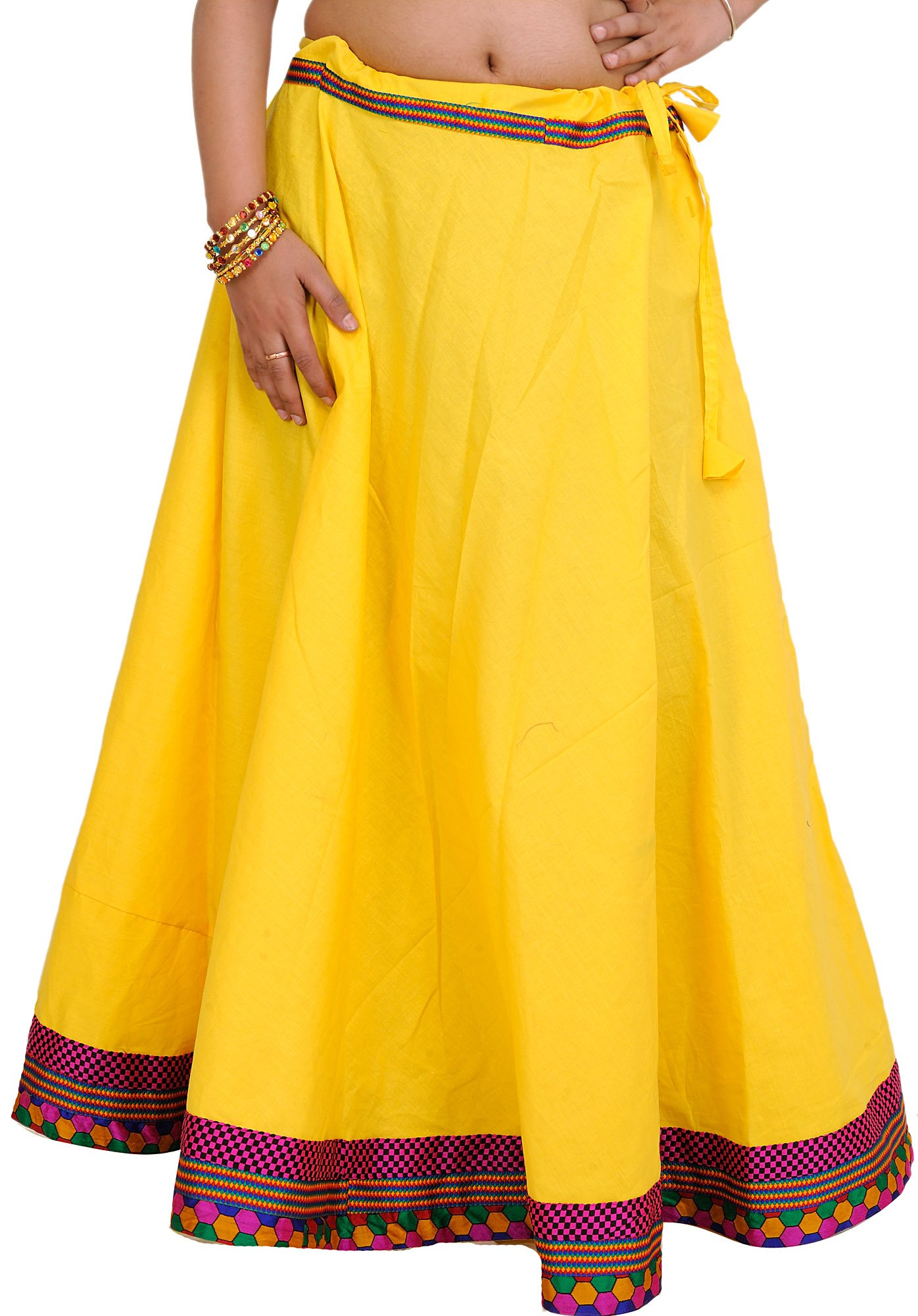 Daffodil Plain Long Ghagra Drawstring Skirt with Patch Border