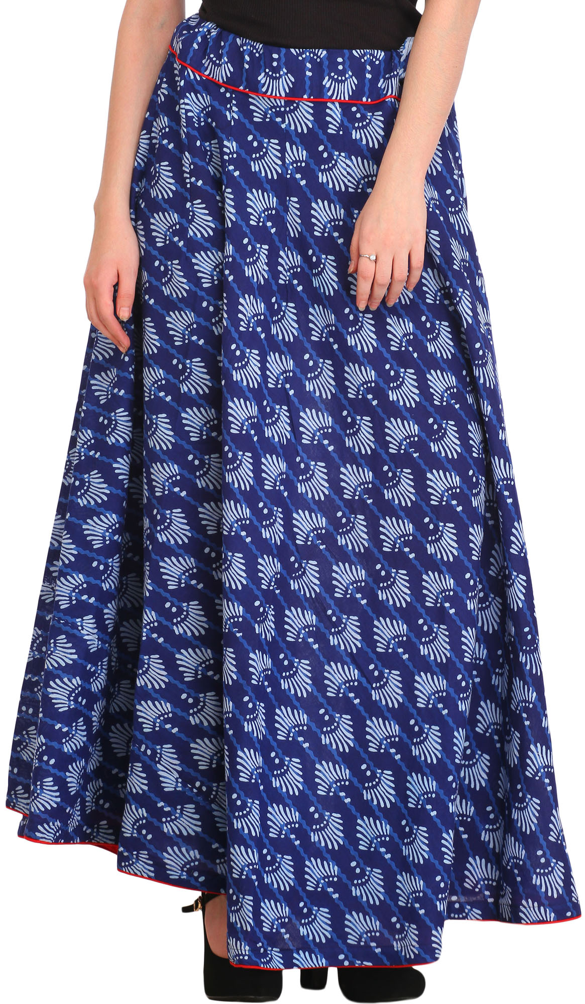 Limoges-Blue Block Printed Long Ghagra Skirt with Piping-work