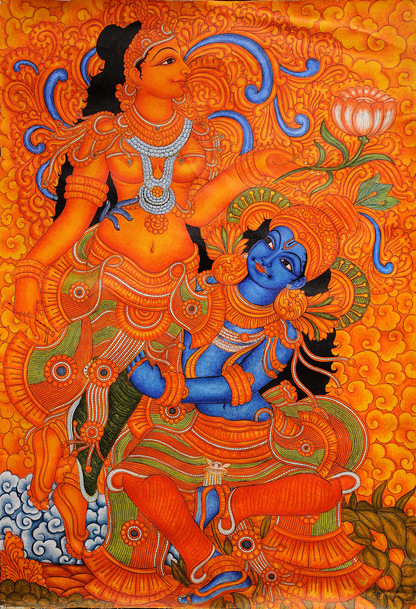 Kamadeva and rati for Mural art of ganesha