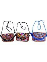 Lot of Three Embroidered Clutch Bags from Kutch with Beads and Mirrors
