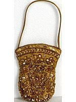 Golden Densely Embroidered Mobile Handbag with Sequins and Beads