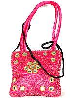 Hot-Pink Beaded Handbag with Mirrors