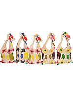 Lot of Five Jhola Bags with Appliqué Work and Kantha Embroidery