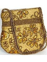 Golden Handbag with Sequins and Embroidered Beads