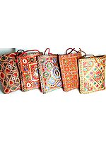 Lot of Five Densely Embroidered Handbags with Mirrors
