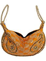 Saffron Bracelet Bag with Brocade Weave and Embroidered Beads
