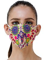 Two Ply Fashion Mask with Embroidered Flowers and Mirrors