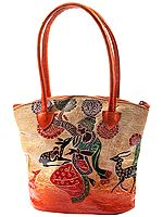 Pure Leather Boho Hand-Bag from Shantiniketan Kolkata, Hand-Carved and Hand-Painted with Non-Toxic Vegetable Dyes
