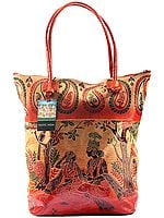 Rust-Orange Pure Leather Big Shoulder Radha Krishna Bag from Shantiniketan Kolkata, Hand-Carved and Hand-Painted with Non-Toxic Vegetable Dyes