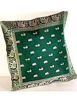 Emerald-Green Banarasi Cushion Covers with Elephants and Peacocks